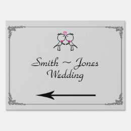 Cute Two Grooms Kissing Gay Wedding Direction Sign