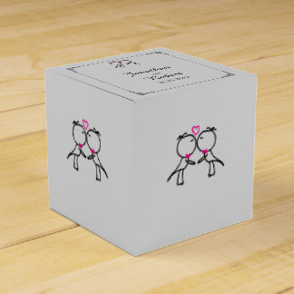 Cute Two Grooms Kissing Gay Wedding Favor Box
