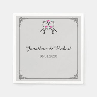 Cute Two Grooms Kissing Gay Wedding Napkin Standard Cocktail Napkin
