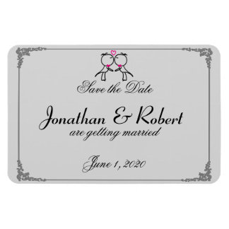 Cute Two Grooms Kissing Gay Wedding Save the Date Rectangular Photo Magnet