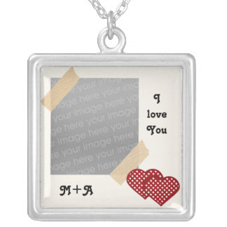 cute two hearts love Photo Silver Plated Necklace