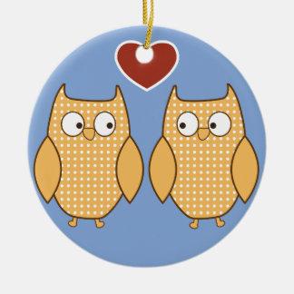 Cute two owls heart illustration ceramic ornament