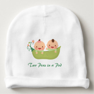 Cute Two Peas in a Pod Boy Girl Twins Baby Beanie