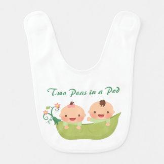 Cute Two Peas in a Pod Boy Girl Twins Baby Bib
