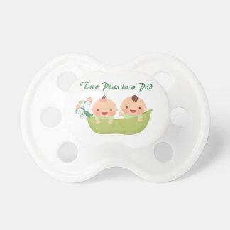 Cute Two Peas in a Pod Boy Girl Twins Pacifier