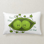 "Cute Two Peas In A Pod Lumbar Pillow<br><div class=""desc"">Two cute little green peas sitting comfortably in their green pod. Each has a cute smiling face. The pod is surrounded by vines and leaves. Surrounding the illustration is the text &quot;Two Peas&quot; at the top and &quot;In A Pod&quot; at the bottom in green.</div>"