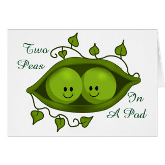 Cute Two Peas In A Pod personalizable Card