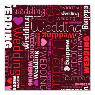 Cute typographic wedding invitation