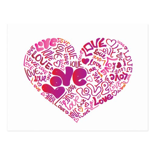 Cute typography love postcard zazzle for Cute sketches for your girlfriend