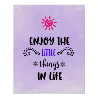 Cute Typography With An Inspiring Quote on Purple Poster