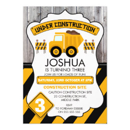 Construction Birthday Invitations Announcements Zazzle