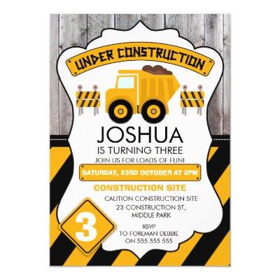 Cute Under Construction Birthday Thank You Card Zazzlecom