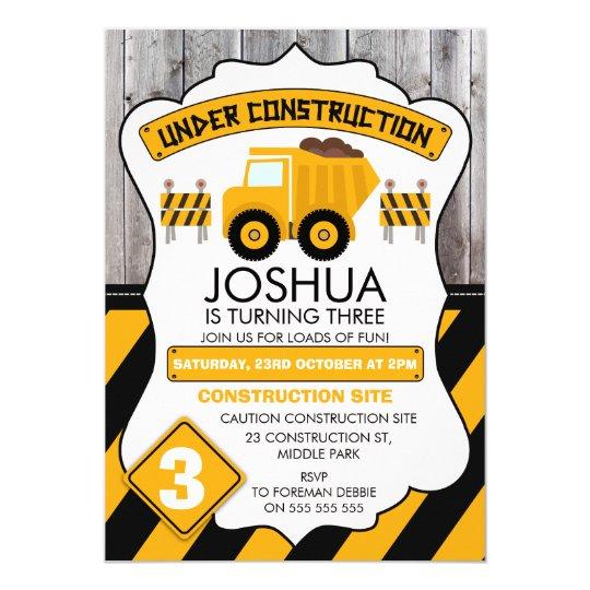 Cute Under Construction Birthday Invitation