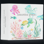 """Cute Under the Sea Baby Photo Album 3 Ring Binder<br><div class=""""desc"""">Cute under the sea photo album for a baby girl.  Matching items available in our shop.</div>"""