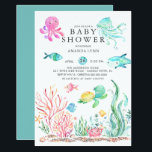 "Cute Under the Sea Baby Shower Invitation<br><div class=""desc"">Cute under the sea baby shower invitation featuring a jelly fish,  octopus,  shark,  sea turtle &amp; crab.  Perfect for your summer theme mermaid ocean shower for a girls shower.</div>"