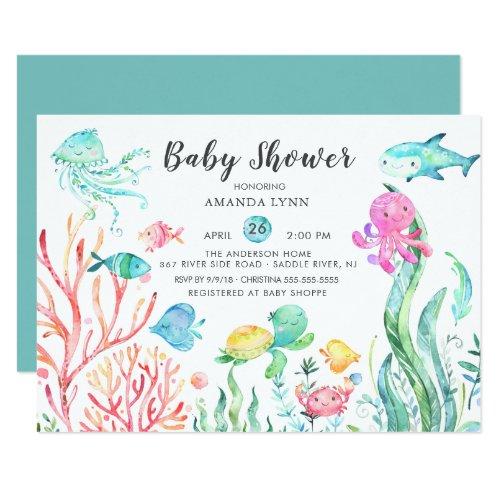 Cute Under the Sea Baby Shower Invitation