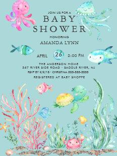 Under the sea baby shower invitations zazzle cute under the sea baby shower invitation filmwisefo