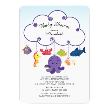Toddler & Baby themed Cute Under the Sea Baby Shower Invitations