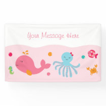 Cute Under The Sea Banner Pink