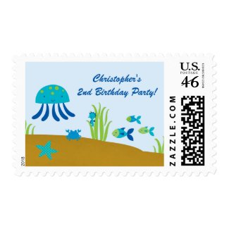 Cute under the sea birthday party postage stamps stamp