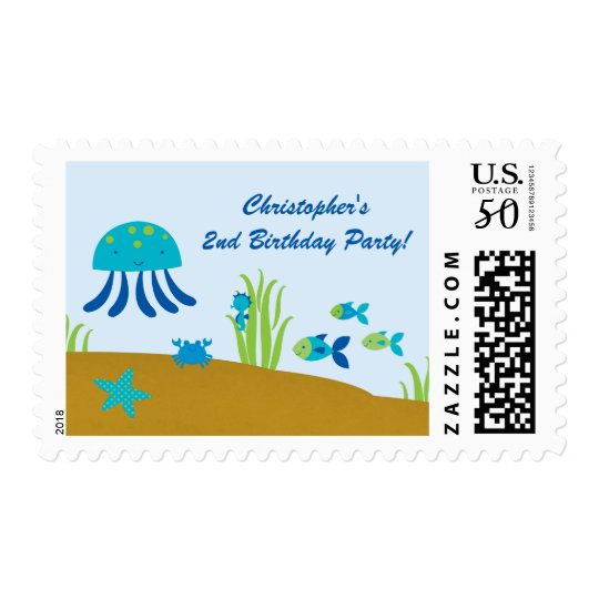 Cute under the sea birthday party postage stamps