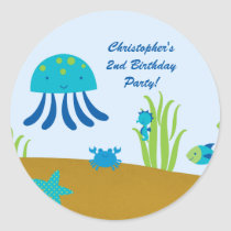 Cute under the sea birthday party stickers