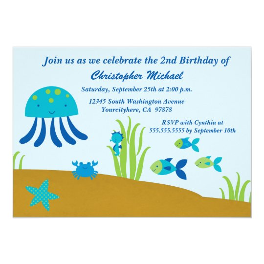 Cute Under The Sea Boys Birthday Party Invitation