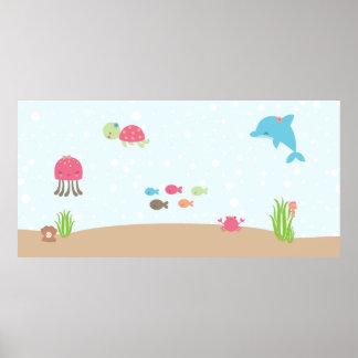 Cute under the Sea children's wall art poster