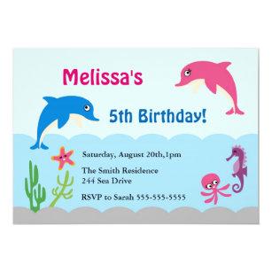 Dolphin birthday party invitations announcements zazzle cute under the sea dolphin birthday party invite filmwisefo