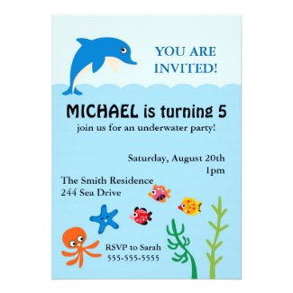 Dolphin Birthday Party Personalized Invitations Cute Personalized