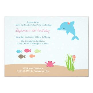 "Cute under the Sea girls birthday party invitation 5"" X 7"" Invitation Card"
