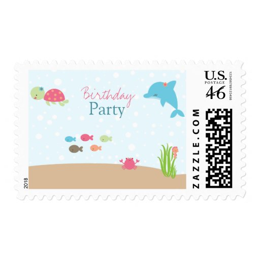 Cute under the Sea girls birthday party stamps
