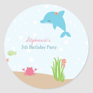 Cute under the Sea girls birthday party stickers