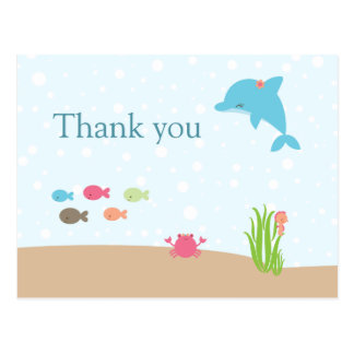 Cute under the Sea girls thank you card
