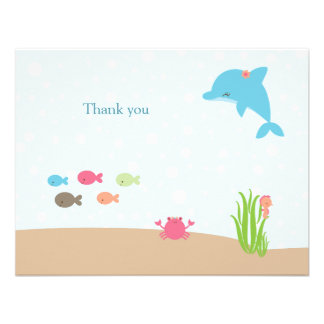 Cute under the Sea girls thank you card Invitations