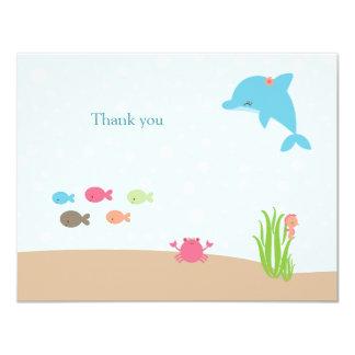 Cute under the Sea girls thank you card