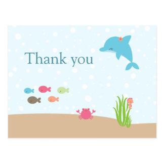 Cute under the Sea girls thank you card Postcard