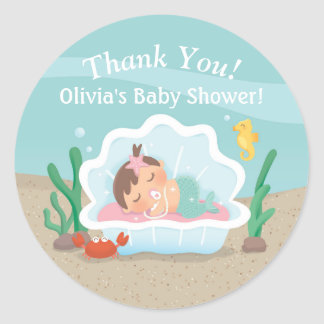 Cute Under the Sea Mermaid Baby Shower Stickers