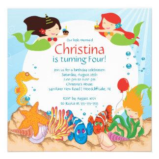 Cute Under The Sea Mermaid Birthday Invitation