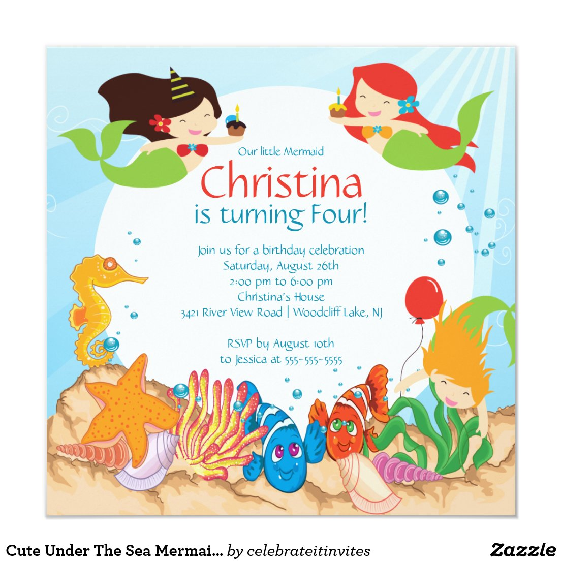Cute Under The Sea Mermaid Birthday Invitation
