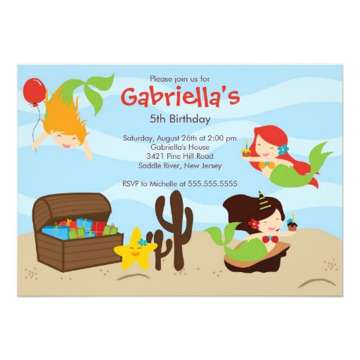 Cute Under the Sea Mermaid Birthday Party Personalized Invitations