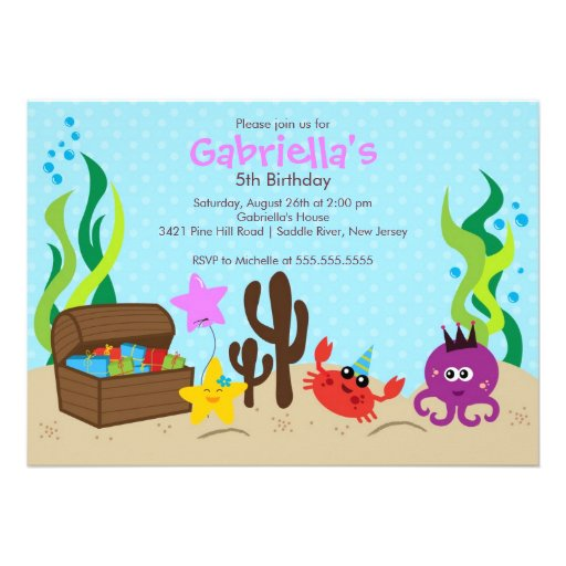 Cute Under the Sea Mermaid Birthday Party Personalized Invitation