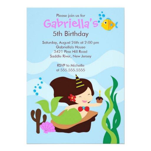 Cute Under the Sea Mermaid Birthday Party Custom Invitations