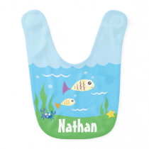 Cute Under The Sea Ocean Fish Starfish And Crab Baby Bib