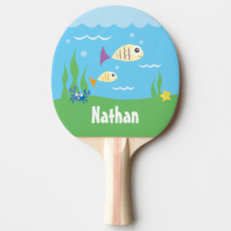 Cute Under The Sea Ocean Fish Starfish And Crab Ping-Pong Paddle