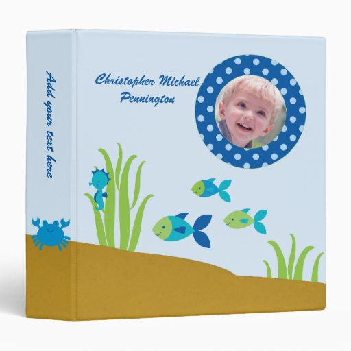 Cute under the sea personalized photo avery binder