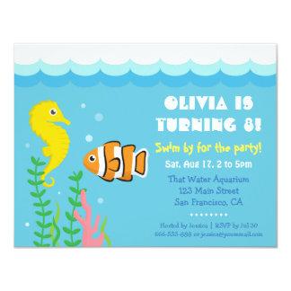 Cute Under the Sea theme Aquarium Birthday Party 4.25x5.5 Paper Invitation Card