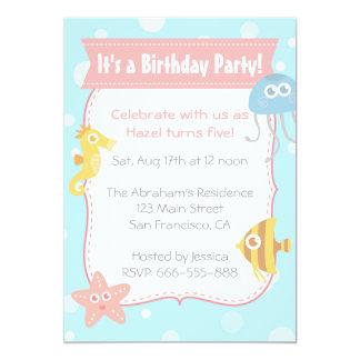 Cute Underwater Animals Birthday Party 5x7 Paper Invitation Card