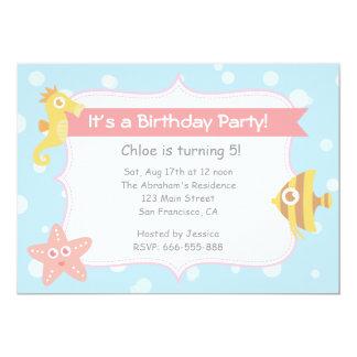 "Cute Underwater Animals Birthday Party 5"" X 7"" Invitation Card"