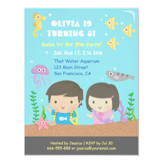 Cute Underwater Aquarium Kids Birthday Party Card